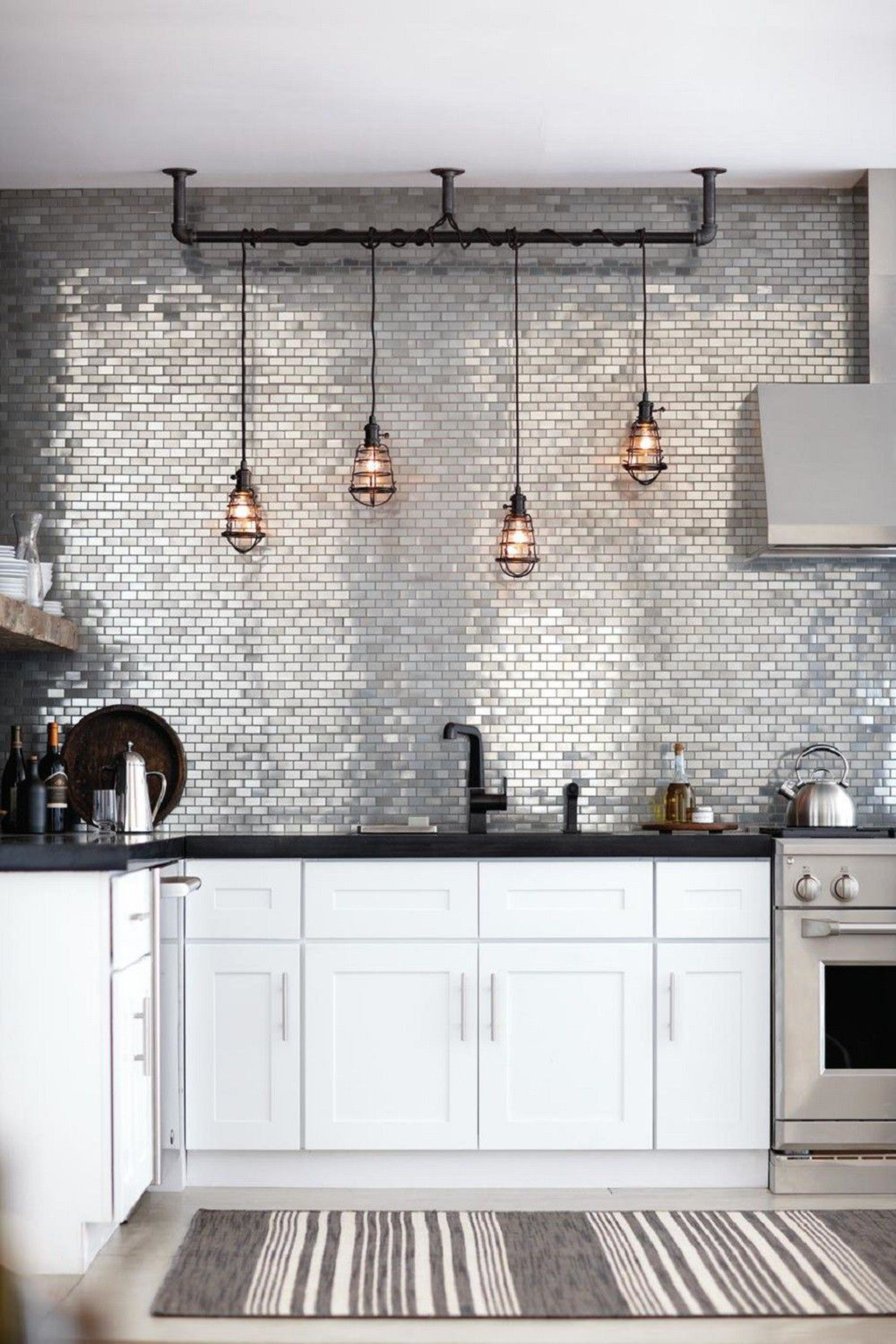 Metallic Tiles Will Add A Glamorous Backsplash In Your Kitchen
