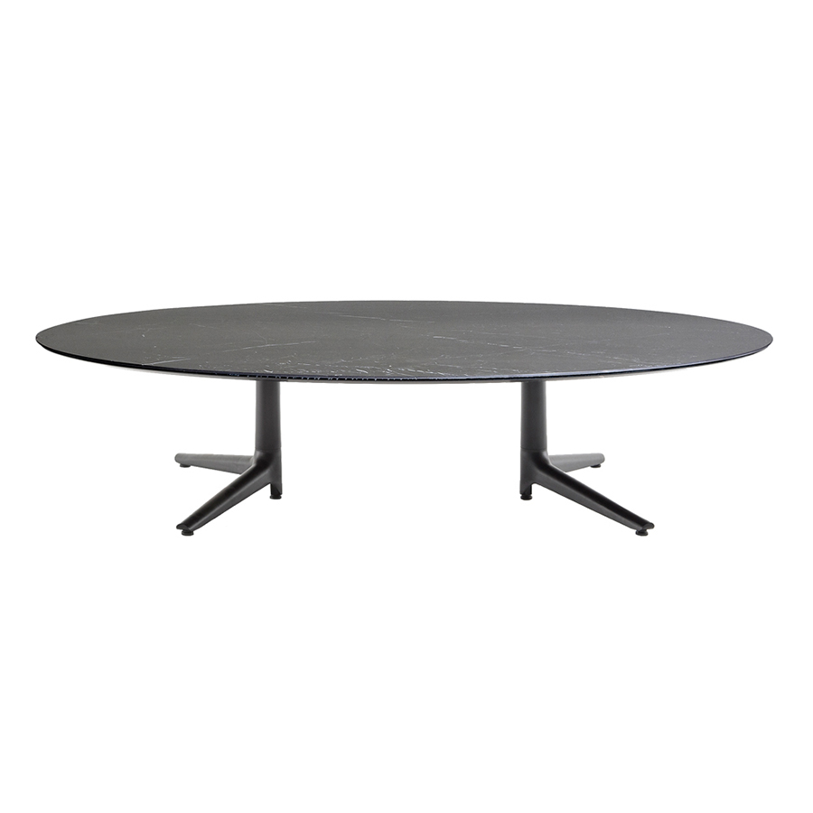 Table Salon Ceramique Kartell Table Basse Multiplo Low Avec Plat Ovale Noir Aluminium Moulé Et Plateau En Céramique Finition Marbre