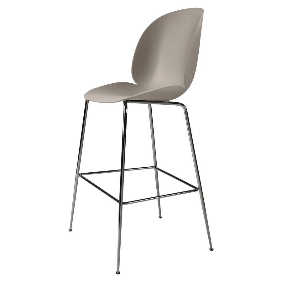 Tabourets De Bar Polypropylene Gubi Tabouret Beetle Bar Chair Base Chrome Noir New Beige Polypropylène Et Acier