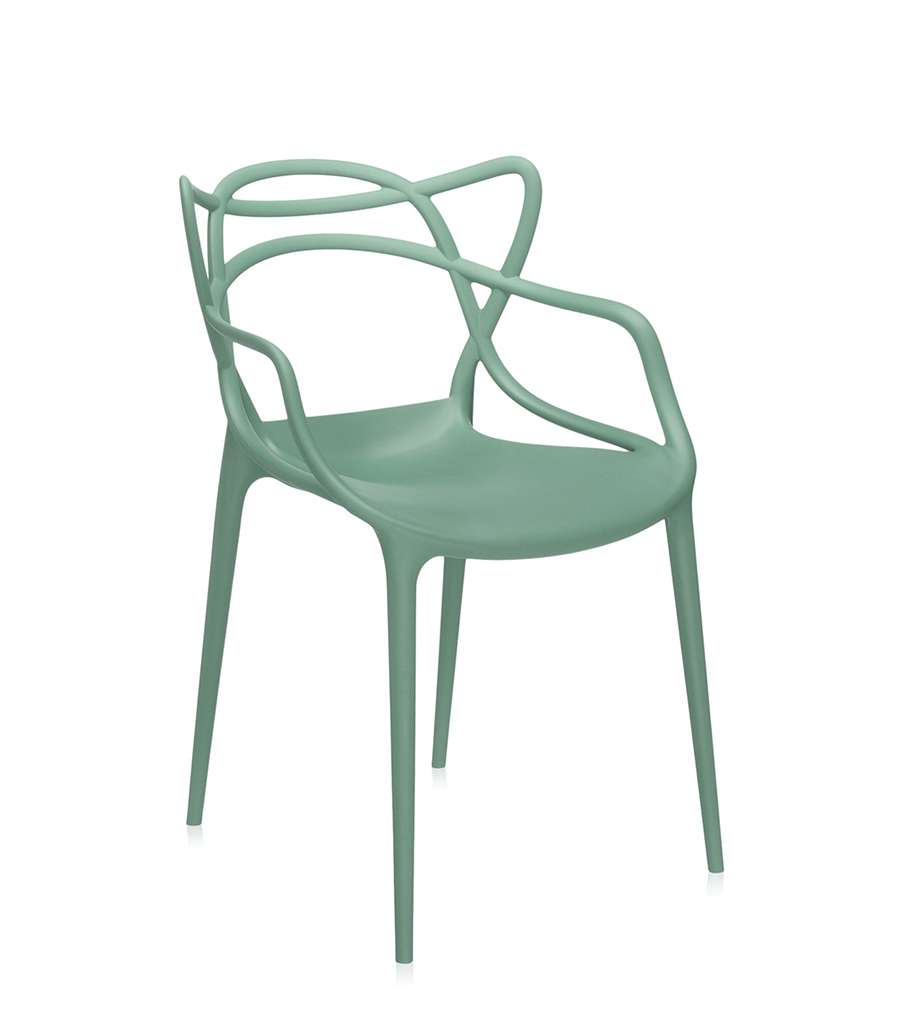 Sedia Eames Verde Kartell Set Of 2 Chairs Masters Sage Green Dyed Polypropylene