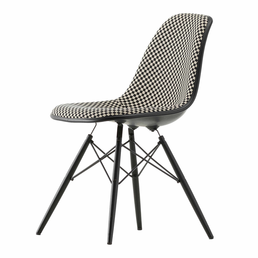 Dsw Eames Stuhl Vitra Eames Plastic Side Chair With Full Padding Black Base Dsw Checker (checker Cat. F200 - Polypropylene Basic Dark, Black Maple And Fabric) - Myareadesign.it