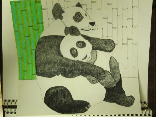 I used two different shades of colored pencils to begin coloring in the bamboo trees.