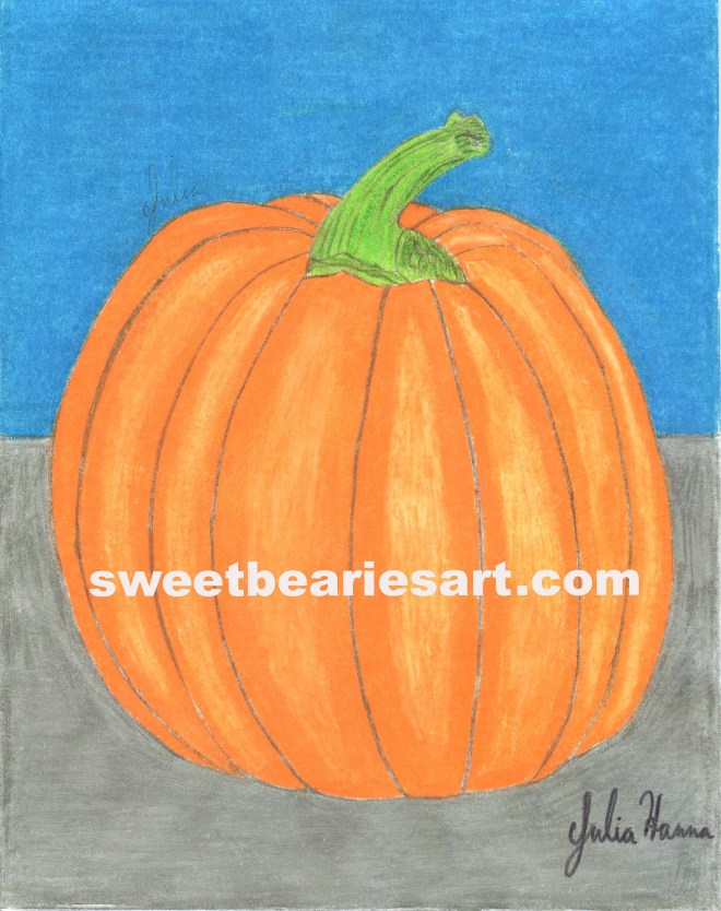 Just because it is not longer autumn does not mean I cannot finish a pumpkin drawing.