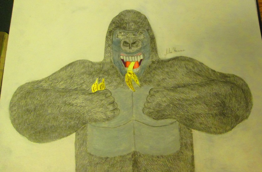 Here the gorilla's chest has been colored in. His mouth and the bananas have also been shaded in.