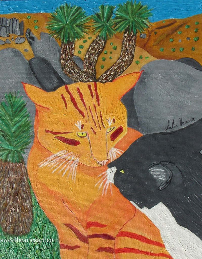 Painting of two cats kissing at Joshua Tree.