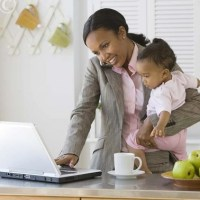 black working mom using social media