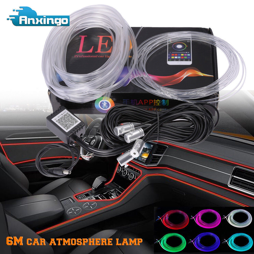 Led Strip 6m Amazing 6m Rgb Led Car Interior Neon El Strip Light Sound Active Bluetooth Phone Control 2017 2018