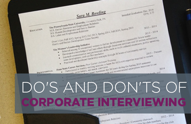 Do\u0027s and Don\u0027ts of Corporate Interviewing