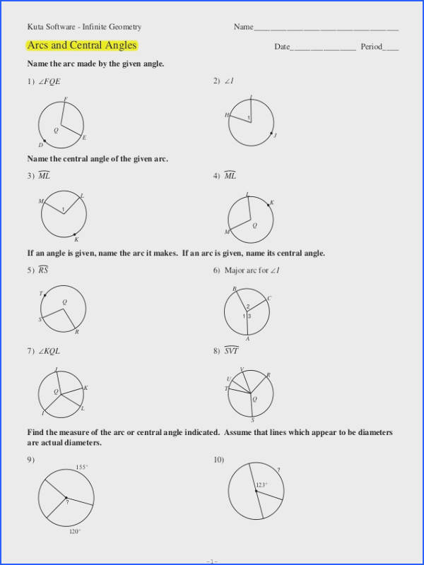 Inscribed Angles Worksheet With Answers - Nidecmege