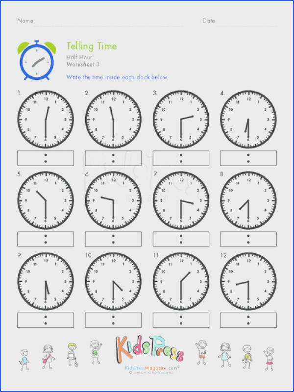 Telling Time Worksheets Mychaume - time worksheets