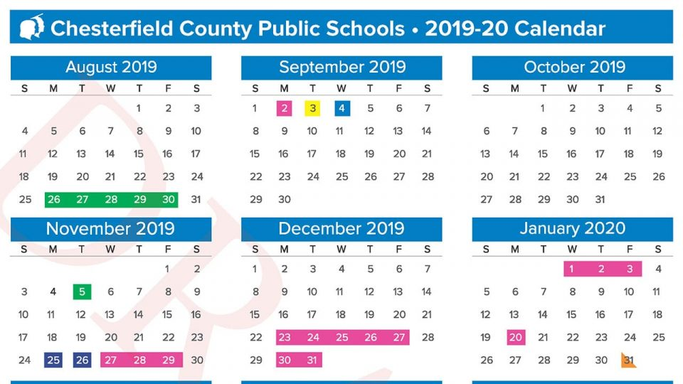 Proposed 2019-20 School Calendar Chesterfield County Public Schools