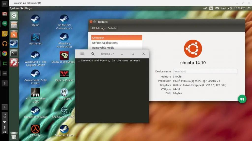 Linux avec Crouton dans un onglet Chrome