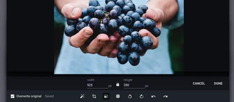 Redimensionner bientôt vos images sur chrome OS et Chromebook