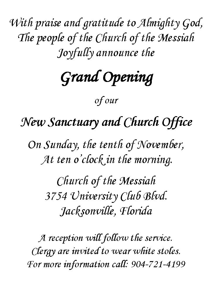 Invitation Letter Grand Opening Grand Opening Of New Sanctuary And Church Office Announced