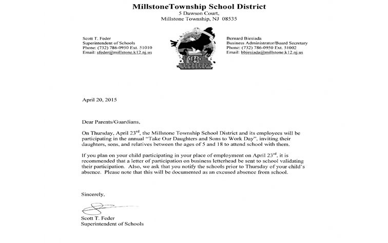Letter from Millstone Superintendent Scott Feder Take Your Child To - child letter