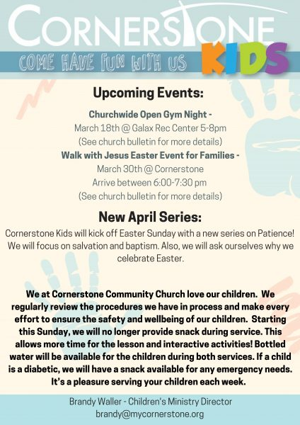 Cornerstone Kids Monthly Newsletter - Cornerstone Community Church