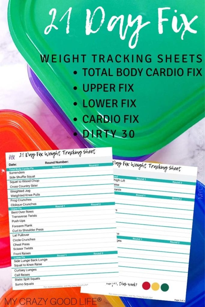 21 Day Fix Weight Tracker Printable - My Crazy Good Life