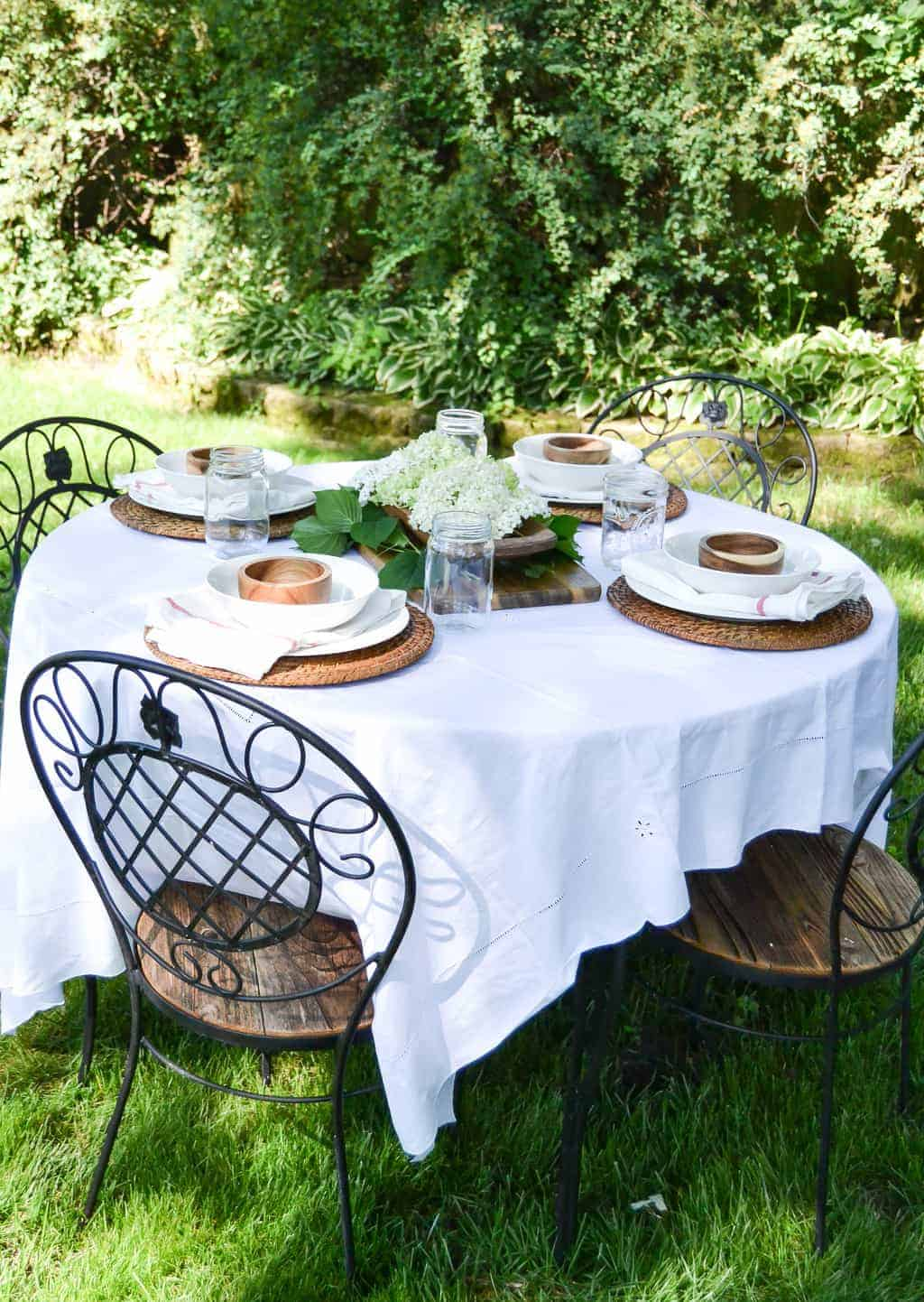 Ikea Wood Cutting Board Summer Tablescape - Making Alfresco Dining Special - My