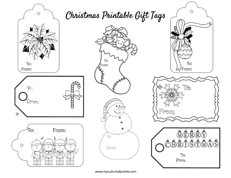 Free Christmas Gift Tags To Color Cultured Palate