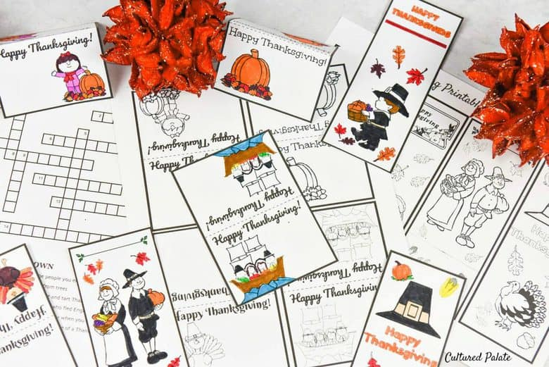 Free Thanksgiving Activity Set - Bookmarks, Puzzles, Place Cards