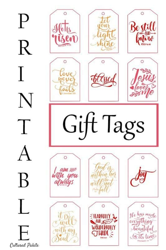 Printable Gift Tags - Inspirational Cultured Palate