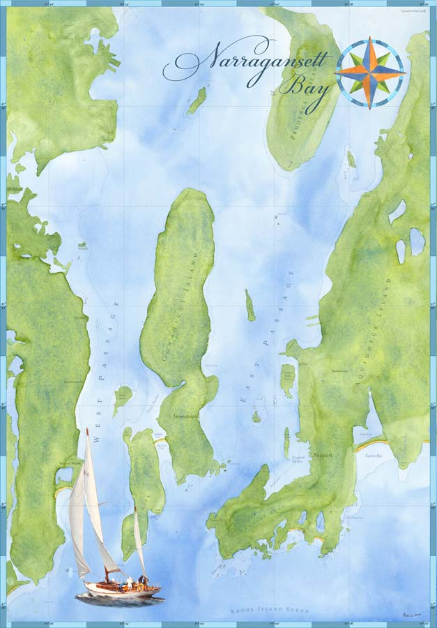 Newport and Narragansett Bay Nautical Chart Art My Custom Chart