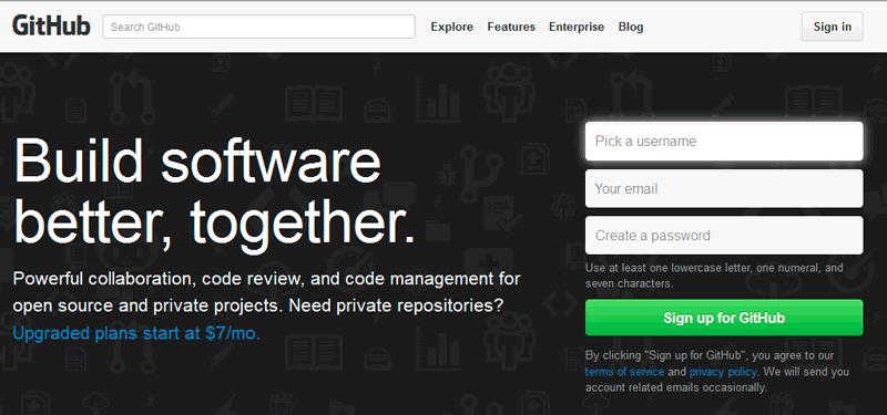 Página inicial de GitHub
