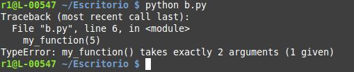 Error que provoca ejecutar una función con un número incorrecto de parámetros en Python.