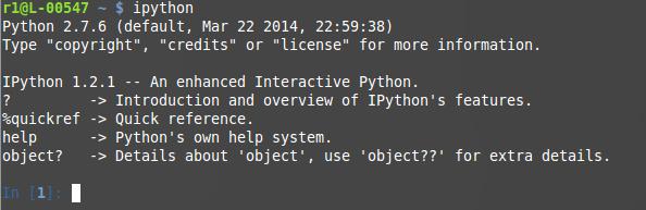 Ejecución del programa iphython