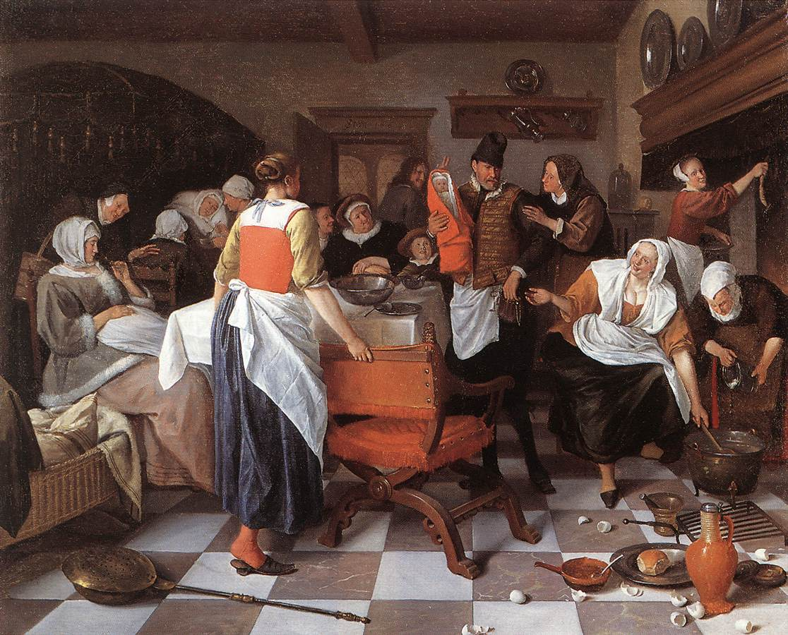Pintura De Genero Celebrating The Birth By Jan Steen My Daily Art Display