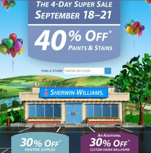 Sherwin williams 4 day sale 40 off all paints stains for Sherwin williams dry erase paint review