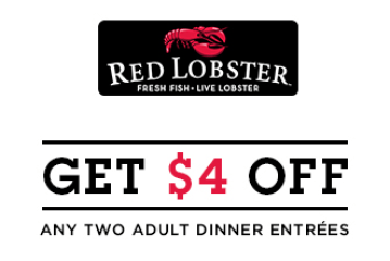 Red lobster coupon $4 off two entrees