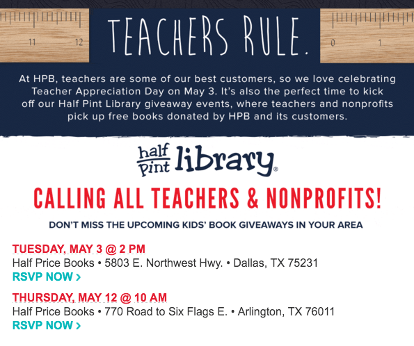 Teacher appreciation week deals discounts my dallas mommy if you are an educator register now to pick up free books from the half price library giveaway go here for more information fandeluxe Image collections