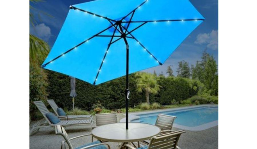 Sorbus Outdoor Patio Umbrella With Solar Charging Led