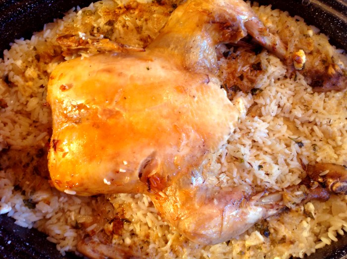 Greek Chicken With Rice and Feta Cheese