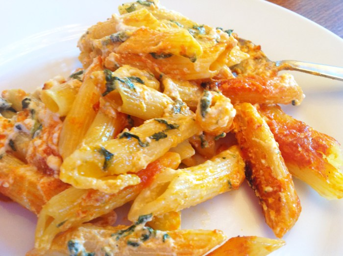 Penne Pasta With Spinach & Feta Cheese