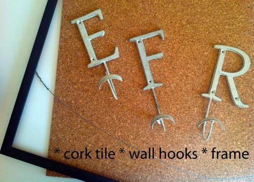 Cork Tile, Hooks, Frame - www