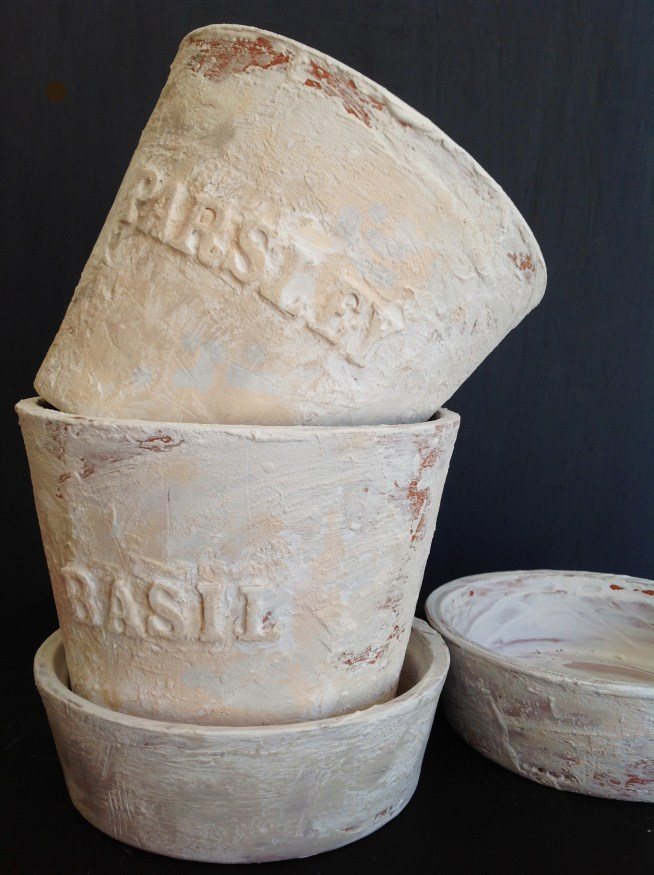Embossed And Distressed Terra Cotta Pots