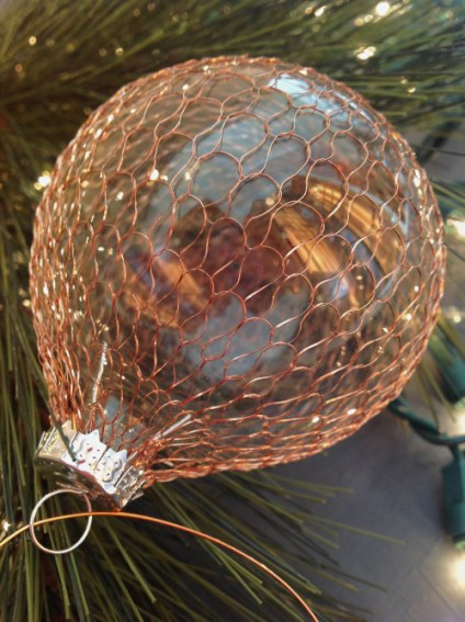 Glamorous DIY Copper-Scaled Glass Ornaments