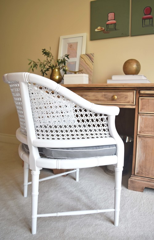 Faux Bamboo Cane Chair Remake