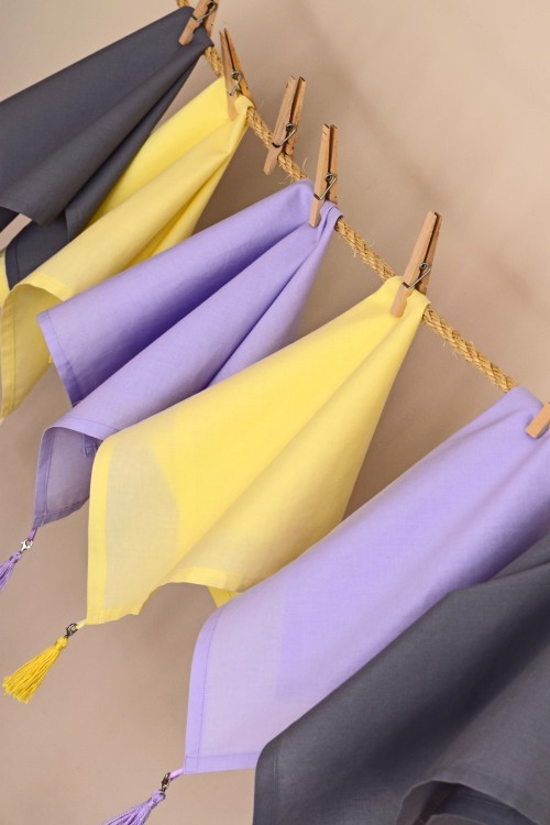 Yellow Purple Grey Napkins - mydearirene.com
