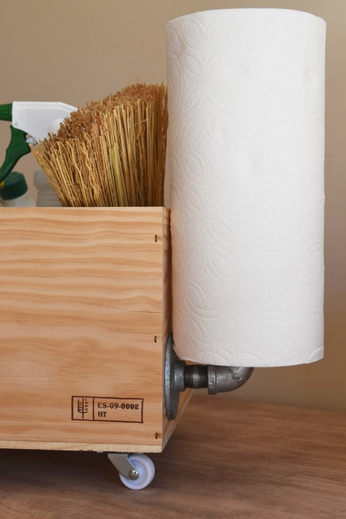 Cleaning Caddy With Kitchen Paper Holder - mydearine.com