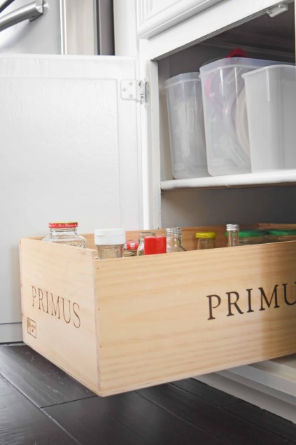 How To Turn a Wooden Wine Crate Into a Pull-Out Kitchen Drawer