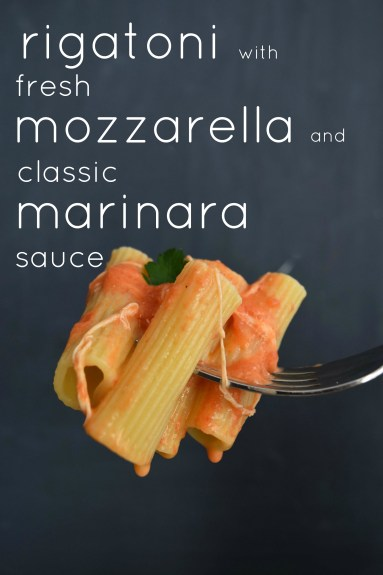 Rigatoni With Marinara Sauce & Melted Fresh Mozarella