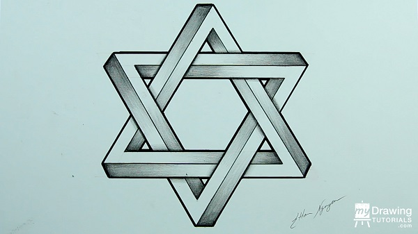 How To Draw An Impossible Star Of David My Drawing Tutorials