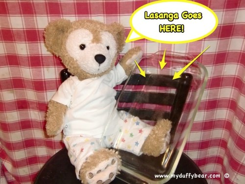 Duffy the Disney Bear asks for more Lasagna