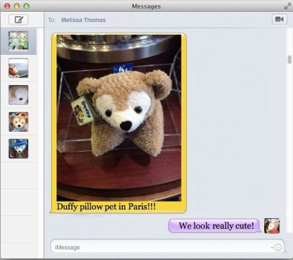 Duffy the Disney Bear receives an iMessage text from Cousin Duffy that the Pillow Pet is in Paris!