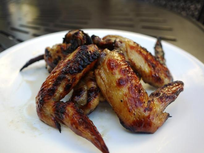 sideview of chinese grilled chicken wings