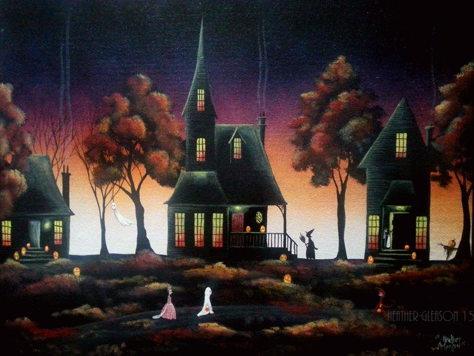 New England Fall Themed Wallpaper Halloween Art Prints Artist Heather Gleason My Eclectic Mind