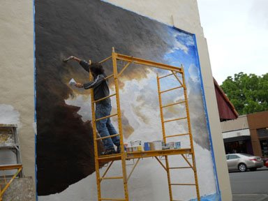 Latest edmonds mural taking shape on papery wall my for Edmonds mural society